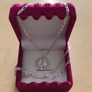 Silver 925 chain with religious pendant